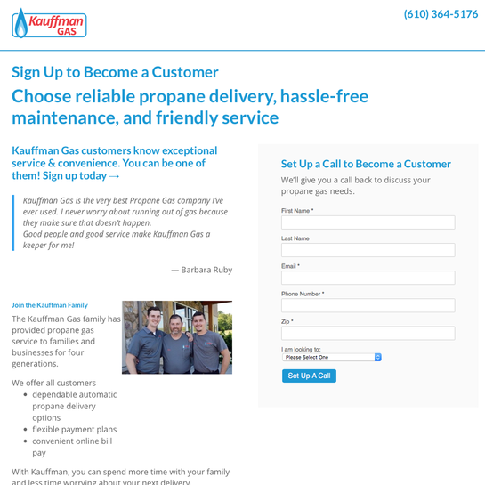 Kauffman Gas - PPC Campaign and Landing Pages